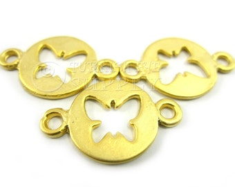 3 pc Butterfly Disc Connector 22K Gold Plated Disc Cut Out Butterfly Connector, Bracelet Connector, Turkish Jewelry, Turkish Findings