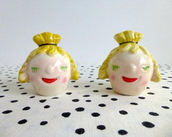 Vintage Kitschy Salt and Pepper Shakers, Lady Head Salt and Pepper Shakers, Knobler Co. Ceramic Salt and Pepper Shakers, Made in Japan