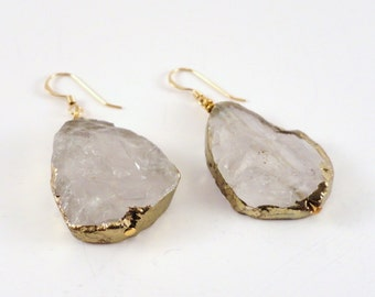 Gold Leaf Earrings, Gold Leaf Quartz, Raw Quartz Earrings, Large Quartz Earrings, Quartz Statement Earrings, Quartz Drop Earrings