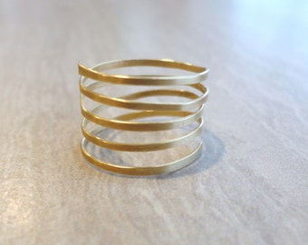 Gold Coil Ring, Gold Spring Ring, Gold Spiral Ring, Gold Ring, Modern Gold Ring, Thin Gold Ring, Thick Gold Ring, Gold Stacking Ring, Simple