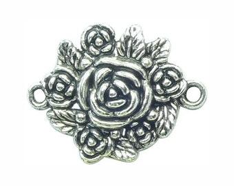 6 Silver Rose Bracelet Connector Charm Flower Pendant 24x31mm by TIJC SP0784