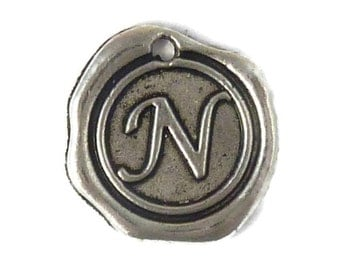 5 Wax Seal Initial Silver Letter N 19x18mm by TIJC - SPWN