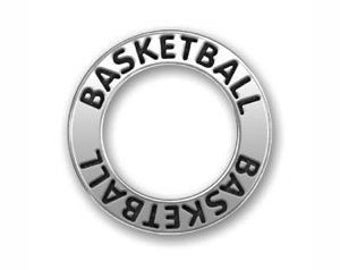 5 pcs - Silver Affirmation Ring Basketball Charm 22mm - by TIJC - SP0570
