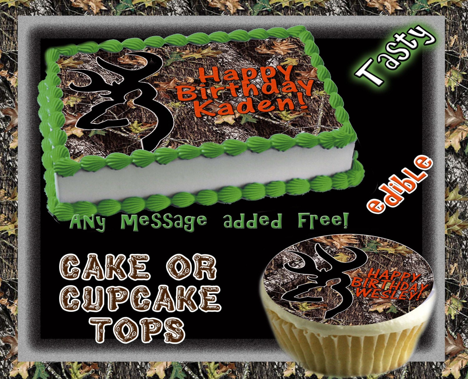 Personalized Camouflage buck mark edible cake or by