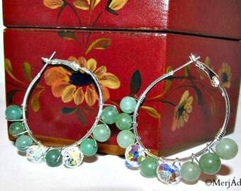 Green Aventurine & Crystal Hoops