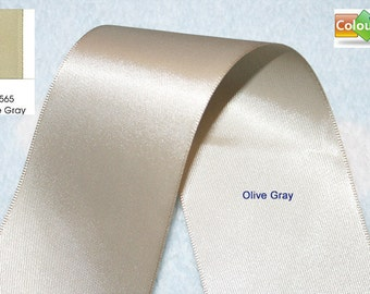 Promotion, Free shipping, 5 yards, ,7/8'', 7/8 inch, 22mm, Double Faced Satin Ribbon, Olive Gray