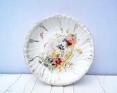 Antique Franz Anton Mehlem German Floral  Earthenware Plate. Circa 1887-1920