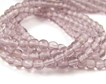 Light Amethyst 4mm  Round Czech Glass  Beads 100pc #1841