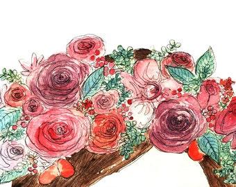 Flower Crown Illustration Art Print