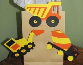 Construction, Trucks Favor Clips for Bags, Baskets or Boxes - Birthday