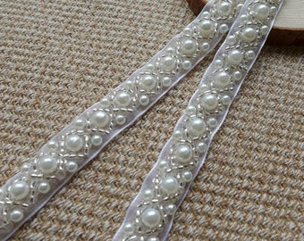 "Beaded Lace Trim - Ivory Pearl Beaded Trim 36"" long 0.43""wide for Women sashes, Wedding Belt, Costume Jewelry"