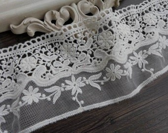 Cotton Embroidery Tulle Lace, Beige Lace Fabric Trim, Antique Cotton Lace 1 Yard