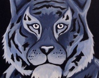 Tiger Blue Monochromatic Painting