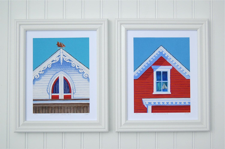 Block island coastal cottage seaside art by clairemaristudio for Block island cottage