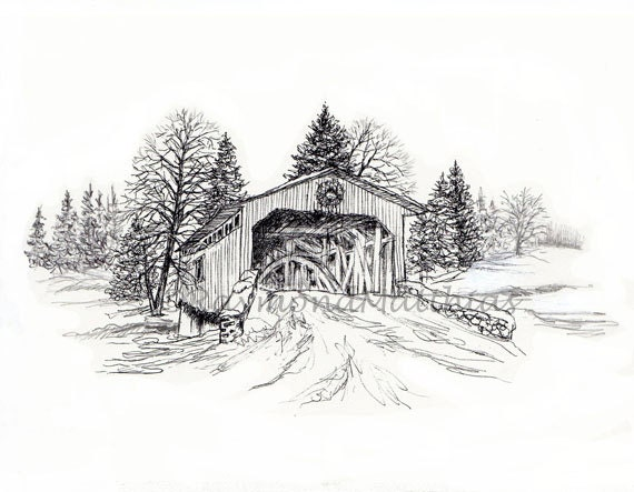 Covered Bridge Christmas Holidays Winter Matted Print Drawing