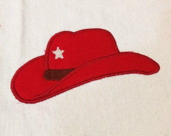 Retro Cowboy Hat Applique Design in 3 Sizes.  Super cute Western style cowboy hat with star for your little wrangler