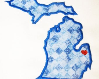 Michigan Applique And Embroidery Design In 7 Styles And Sizes Buy This U S State