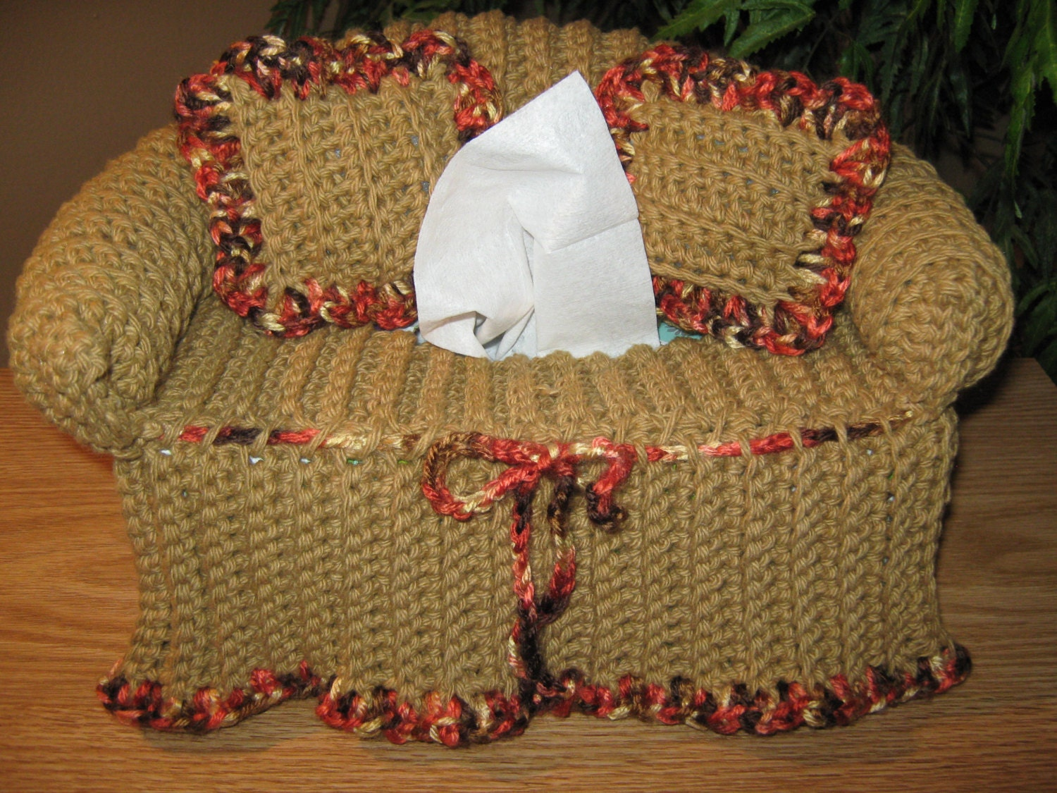 Crochet Couch Tissue Box Cover With Accent Color On Edges