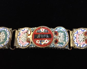 "Vintage Micro Mosaic Italian Bracelet with ""ROMA"" in Center"