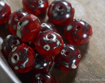 Glossy Cherries (10) - Czech Glass Bead - 6x8mm - Faceted Rondelle
