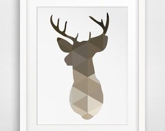 Brown Deer Head Print, Deer Antlers Wall Art, Wall Antlers, Taupe, Beige Deer Wall Art, Deer Print, Brown Beige Triangle Geometric Art