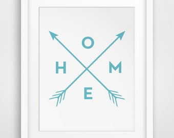 Blue Wall Print, Blue Wall Art, Printable Wall Art, Teal Home Print, Downloadable Wall Prints, Blue Arrow Art, Home Print, Digital Art