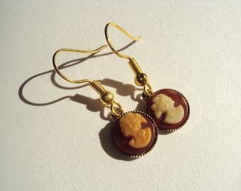 Very cute tiny vintage costume cameo goldtone shepherd hooks for pierced ears hand made upcycled