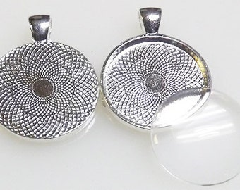 """10 Silver Plated Bezel Pendant Trays with glass cabochon included -1"""" inch 25mm Shiny silver pendant tray for photo jewelry charms"""