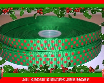 5/8 Inch Green with Red Polka Dot Christmas Grosgrain Ribbon