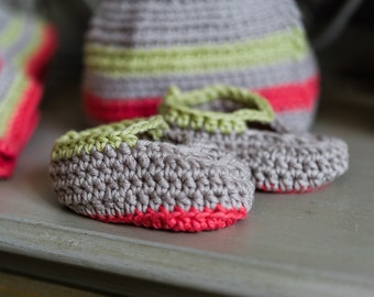 Gorgeous Handmade Crochet Cotton Baby Booties - Girls