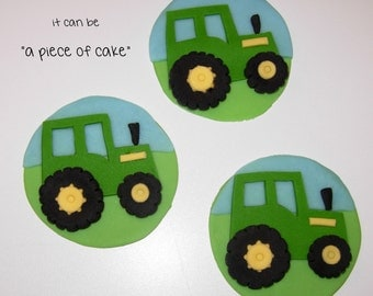 tractor cupcake toppers fondant edible hand-made