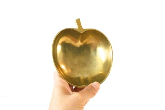 Brass Apple Bowl Jewelry Holder Gold Ring Dish Little