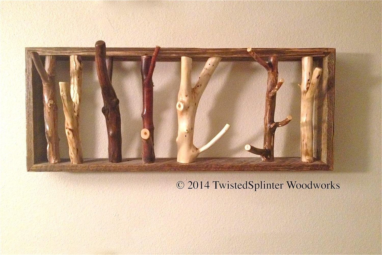 Framed Tree Branch Coat Rack LARGE SIZES by TwistedSplinterWood