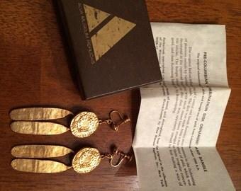 Walking Sun - Gold Pre Columbian Dangle Screwback Earrings - Vintage Alva Museum Replicas - Original Box and Paperwork