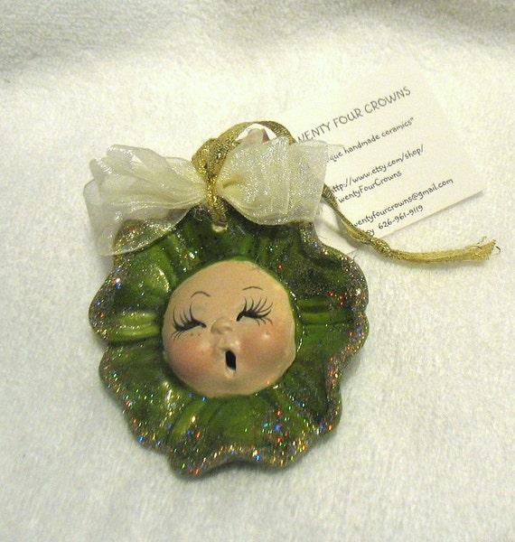 Green Glazed Ceramic Christmas Tree Ornament Handmade