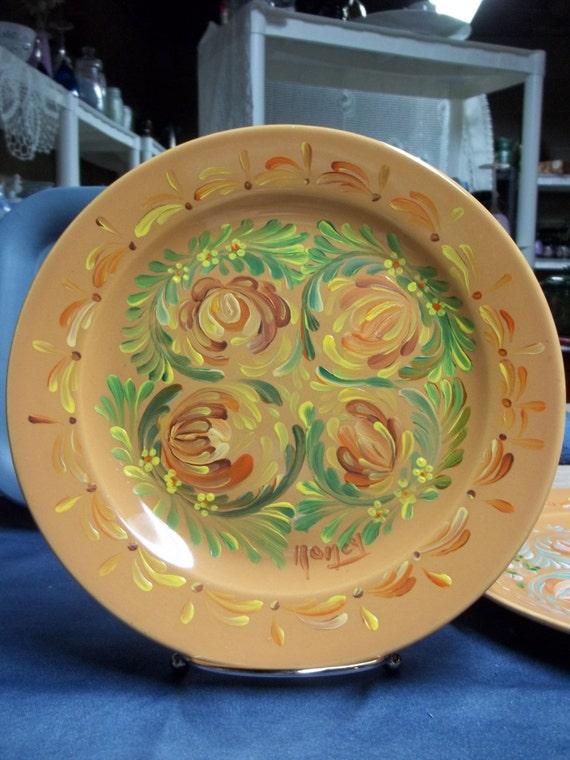 Stoneware Ceramic Plate Peach Hand Painted Scandinavian