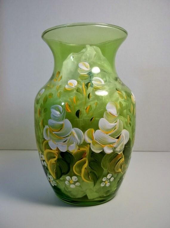 a vintage green glass vase hand painted original design. Black Bedroom Furniture Sets. Home Design Ideas