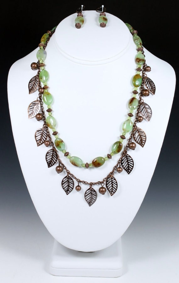 Chrysoprase and Copper Necklace & Earrings, Chrysoprase Necklace, Copper Necklace