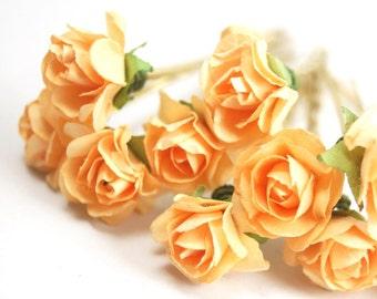 Bridal Hair Accessories, Light orange Rose, Orange flower Hair Bobby Pin, Brass Bobby pin- set 6