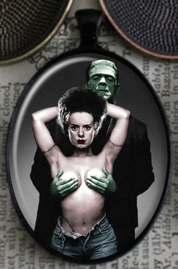 ROCKABILLY Large Sexy Bride of Frankenstein Topless Pendant Necklace