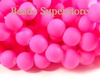 SALE CLOSEOUT 12 mm Fluorescent Neon Pink Glass Round Bead - 12 pcs