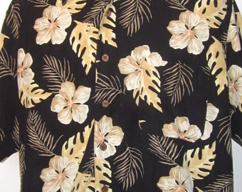 Vintage Hawaiian Print Shirt 90's Tropical Black and Cream Print -Short Sleeve Hibiscus Flowers, Philodendron Leaves & Palm Fronds