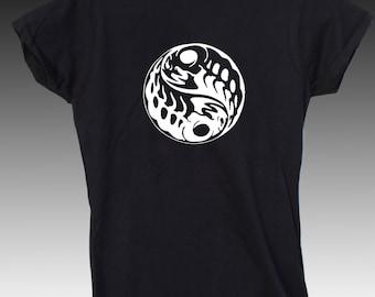 Yin Yang Ladies Black Tshirt