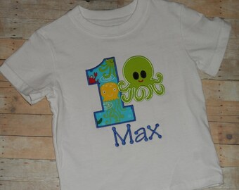 Octopus Birthday Shirt Infant Baby Toddler boys under the sea custom applique  2t 3t 4t 5t