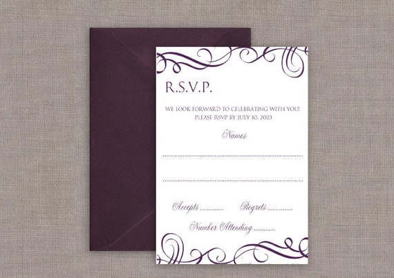 Wedding RSVP Card Template Download Instantly by
