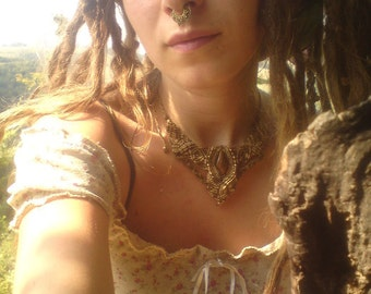 reserved Bohemian TRIBAL WoodFaerie Necklace with beautyfull Fossil