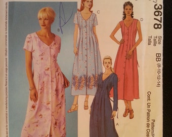 McCalls 3678 Misses A-Line Dress with Front Pleats with Sleeve Variations sewing pattern sizes 8-10-12-14