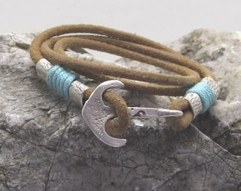 Unisex leather bracelet | Natural leather | Blue Yarn | multi strand | men's bracelet | silver plated | anchor clasp | leather bracelet