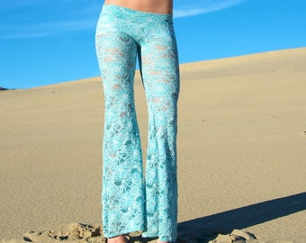 FLORAL CROCHET LACE  hippie boho dance beach resort yoga festival burning man gypsy flare bell bottoms or leggings
