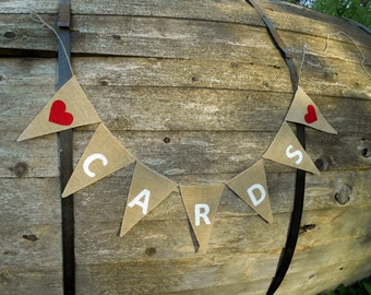 Cards Banner Cards Bunting Party Cards Banner Birthday Cards Banner Banner Wedding Cards Sign Cards Burlap Banner Wedding Banner